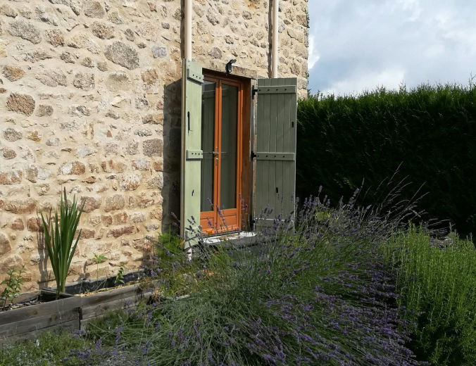 Gites for Two entrance with lavender, rosemary,sage & thyme